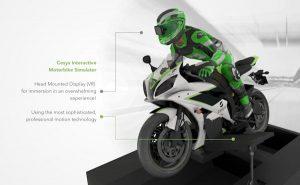 Motorraces op een simulator met een VR helm (foto: Cesys)