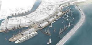 Illustratie van de Nieuwe Willemshaven met achterin de te ontwikkelen jachthaven.