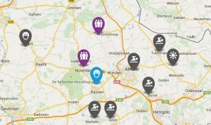 screenshot kaart met dag- en verblijfsrecreatie