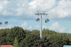 De kabelbaan die in 2012 tijdelijk in de Floriade was geïnstalleerd