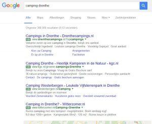 screenshot google bij zoekresultaat 'camping Drenthe'. Alleen advertenties komen direct in beeld