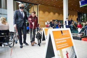 Staatssecretaris Martin van Rijn tijdens de aftrap voor de Campagne voor toegankelijkheid van Gehandicapten )Foto: Phil Nijhuis)