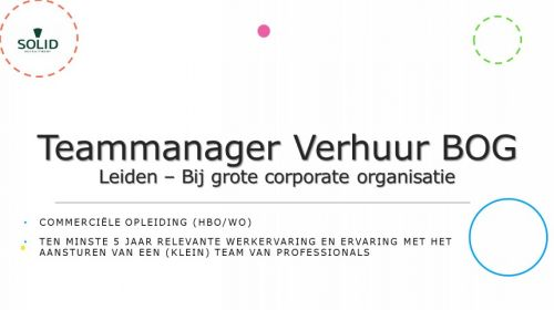 Teammanager Verhuur BOG  afbeelding